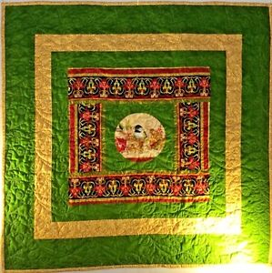 "Chickadee Bird  Quilt 31"" x 31"" Wall Hanging Green & Gold Flannel Backing"