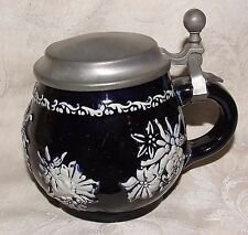 Vintage 1970s GERMAN Cobalt Blue Hinged Pewter Rein Zinn Lidded Squat Stein Mug