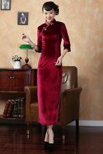 Burgundy Chinese Lady velvet evening long dress Cheongsam Sz: S-XXL