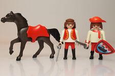 Playmobil 2x aldeano mosquetero escudo cisne medieval espada caballo figura P274