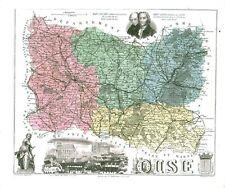 Réédition de gravure ancienne carte région département français Oise