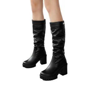 Women Block High Heel Platform Mid Calf Riding Knight Boots Winter Warm 34/43 D
