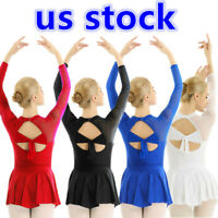 US Women's Ice Figure Skating Long Sleeve Mesh Skirted Leotard Competition Dress