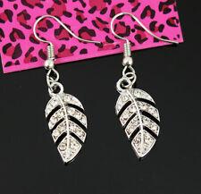 Dorp Hook Silver Earrings woman Jewelry New Betsey Johnson leaf Clear Crystal