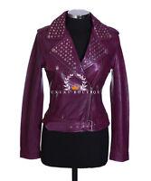 Veronica Purple Ladies Studded Women's Biker Style Real Lambskin Leather Jacket