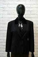 Giacca Vintage Nero Donna TASCA Jacket Woman Taglia 44 Blazer Lana Manica a 3/4