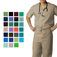Adar Men's Medical Nursing Doctor Scrub Set Uniform V-neck Shirt & Pants
