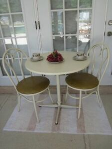 Vintage Aluminum Dinette Set Round Table & Two Beige Leather Upholstered Chairs