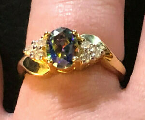 Gold Sterling Silver Ring Mystic Topaz Blue Green Purple + CZ Sz 8 3g 925 #1284