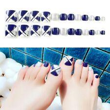24Pcs Beauty Glue On Fake French Full False Toe Nails Acrylic Nail Tips Art Gift