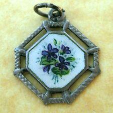 Antique Austrian Silver Enamel Violet Viola Flower Charm
