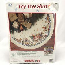 NIP Dimensions Toy Tree Skirt 8462 Sleigh Cross Stitch Kit Winget Christmas 1994