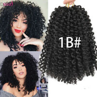 3Pcs/Set Afro 8'' Mali Bob Curly Weave Synthetic Crochet Braids Hair Extensions