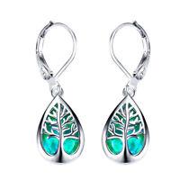 925 Silver life Tree Blue Fire Opal Hoop Earrings Womens Wedding Band Jewelry