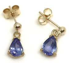 9ct gold tanzanite pear drop earrings, new, actual ones, UK seller 🇬🇧