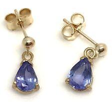 9ct gold tanzanite pear drop earrings, new, actual ones, UK seller 🇬🇧