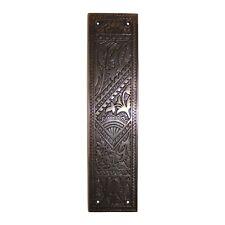 Bronze Fan Door Push Plate Victorian Antique Vintage Old Style Over Cast Brass