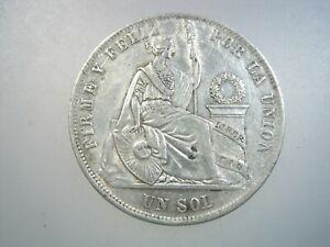 PERU 1 SOL 1869 YB SILVER PERUANA CROWN SHARP 322# MONEY COIN