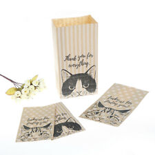 10X kraft paper gift bags candy cookies paper bags gift packaging cat pattYJUS