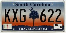 "South Carolina 2016 ""Palmetto Sunrise"" License Plate, KXG 622"