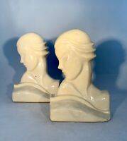 """Vintage Art Deco-Woman's Head-Art Pottery Bookends-1920 to 1930-7"""""""
