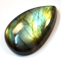 Cts 53.35 Natural Doube Shade Full Fire Labradorite Cabochon Pear Cab Gemstone