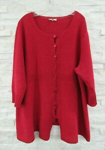 Eileen Fisher Red Hemp Knit Button Front 3/4 Sleeve Cardigan Sweater 2X