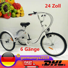 24 Zoll Fahrrad Aluminiumlegierung Erwachsene Dreirad mit Lamp & Korb 6 Gänge