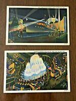 "NEW YORK'S WORLD FAIR, 1939, Postcard Lot of 2 ""official"" cards, Eldo Yacht, etc"