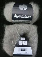 (23,80 €/100g): 25 g LG MOHAIRLANA, Fb.007 graubeige Langhaar-Flausch   #3394