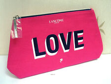 "LANCOME LARGE PINK ""LOVE"" COTTON MAKE UP /TRAVEL BAG - NEW"