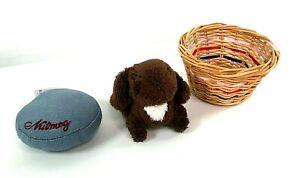 American Girl Julie's Brown NUTMEG Pet Bunny Rabbit Plush Toy Basket Bed 2012