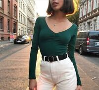 Brandy Melville forest green crop ruched v neck long sleeve charlize top NWT S