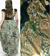 S-06990 Exquisite Italian 100% Silk Gold Embroidered Fabric per Yard