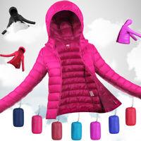 UK Packable Super light Women's 90% Duck Down Jacket Winter Hooded Puffer Coat