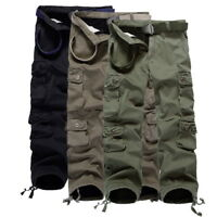 Mens Winter Combat Outfit Multi Pocket Cargo Pants Long Camouflage Trousers