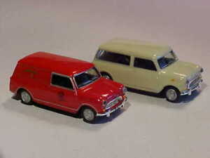 2x BMC Austin Mini 7 Royal Mail 1968 Hongwell Cararama 1/72 Diecast Mint Loose