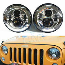 """2x 7"""" LED Projector Round Headlights Low/High H6024 H6012 Chrome Housing (Pair)"""