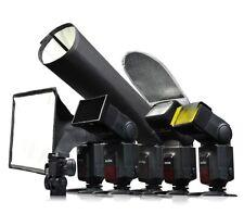 6 accessoires pr Flash Nikon Canon, Diffuseur argenté blanc nid d'abeille orange