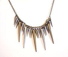 Bronze Gunmetal Spike Necklace-Vintage Jewellery-Gothic Spikes Festival Boho