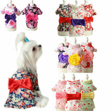 Puppy Dress Bowknot Japanese Kimono Shirt Cat Princess Skirt Pet Costume Spring