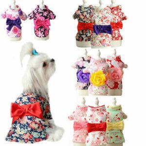 Spring Puppy Dress Bowknot Japanese Kimono Shirt Cat Princess Skirt Pet Costumes