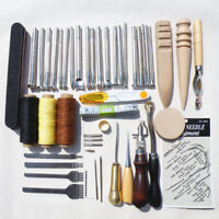 59 PCS DIY Leather Tools Kit Hand Stitching Sewing Punch Carving Stamp Craft Set