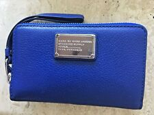 Marc Jacobs MJ blue zip around Wristlet Wallet Leather Clutch bag New