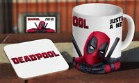 Deadpool Coffee MUG + Wooden Coaster Gift Set