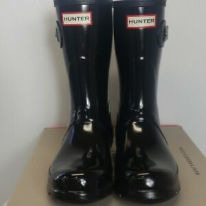 New Women's Hunter original short glossy black boot sz 7