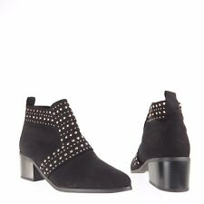 Womens Topshop Buddy Shoes Black Synthetic Studded Moto Ankle Boots Sz EU 38 NEW