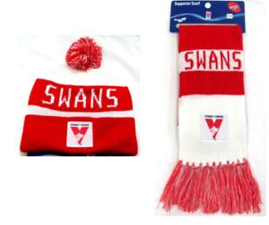 SET OF 2 SYDNEY SWANS AFL FOOTBALL PATCH BAR SCARF & PATCH BAR BEANIE
