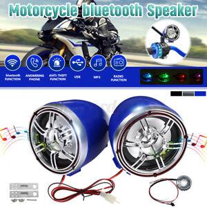 Motorcycle bluetooth Handlebar Audio System Stereo Speakers Radio FM MP3 USB 12V