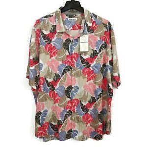 Tommy Bahama Camo Fronds Hawaiian Shirt Size 3XL Tencel Leaves Aloha NWT $125